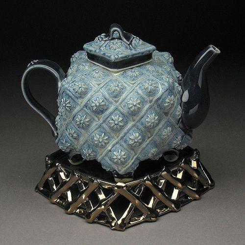 Blue Daist Teapot with Trivet by bohlsmargaret