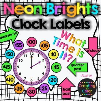 Clock Labels Classroom Decor Neon Brights Clock Labels Classroom Clock Classroom