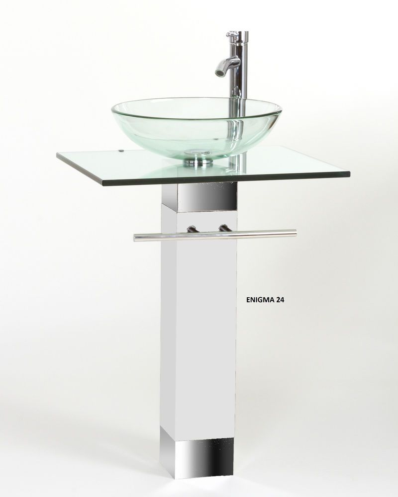 The Art Gallery modern Bathroom vanities pedestal vessel glass furniture sink w bath faucet