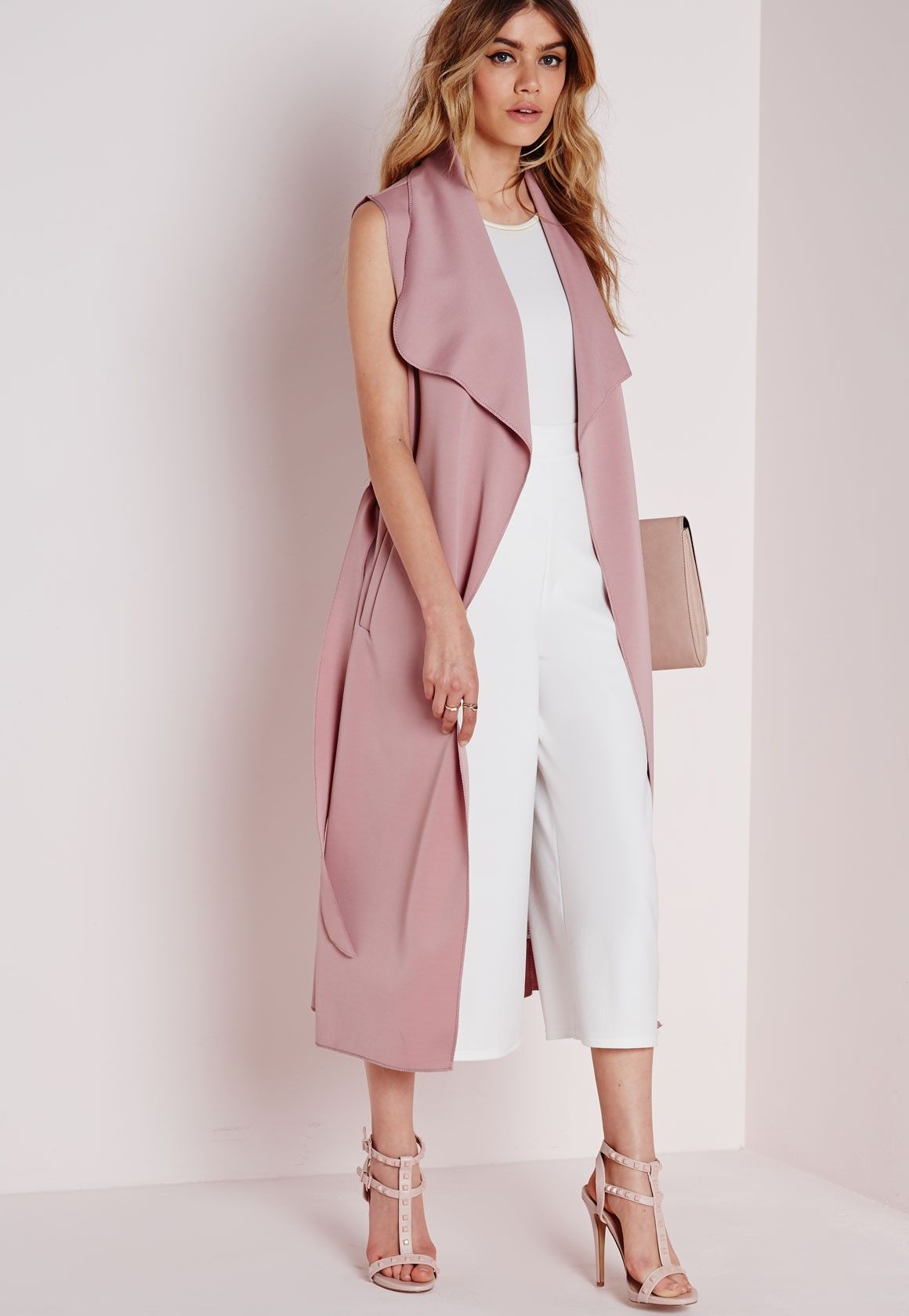 Sleeveless Belted Waterfall Duster Coat Mauve