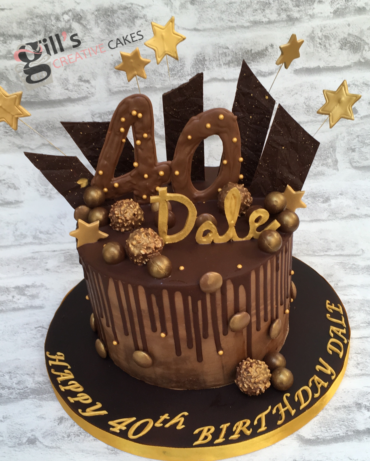 Tremendous Chocolate Shard And Drip Cake For 40Th Birthday With Large Funny Birthday Cards Online Overcheapnameinfo