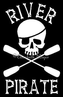 Kayak-River-Pirate-Skull-Decal-Sticker-U-CHOOSE-COLOR