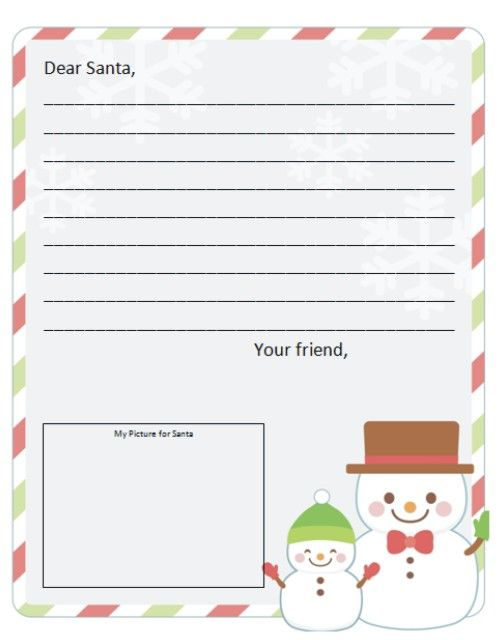 Write To Santa With A Free Dear Santa Letter Template  Santa