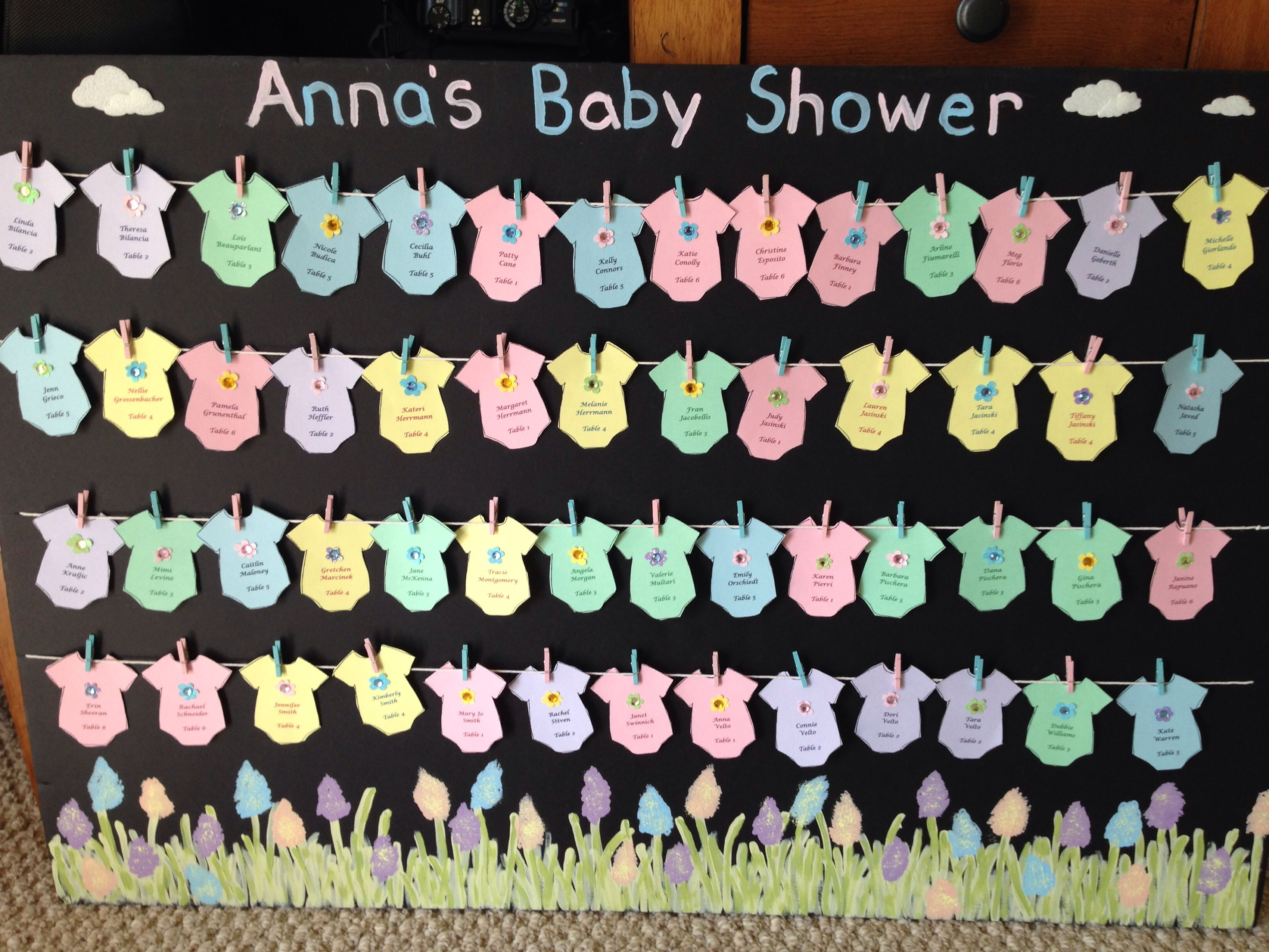 Baby shower clothesline themed seating chart place cards. Onesies ...