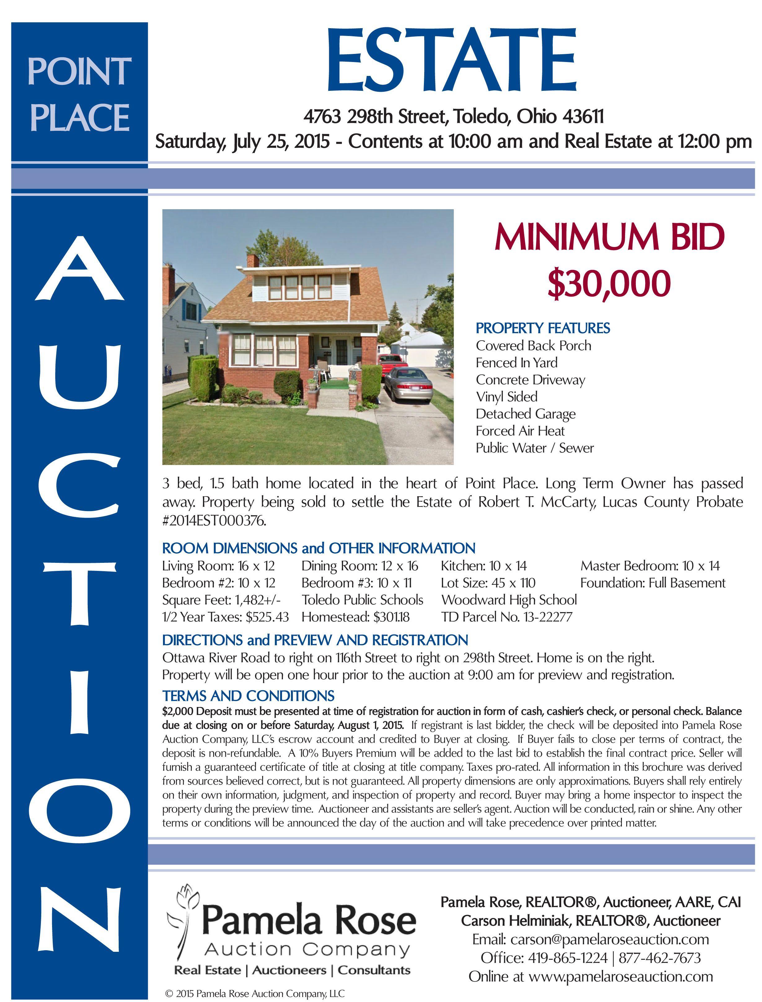 Estate auction in point place minimum bid 30000 at