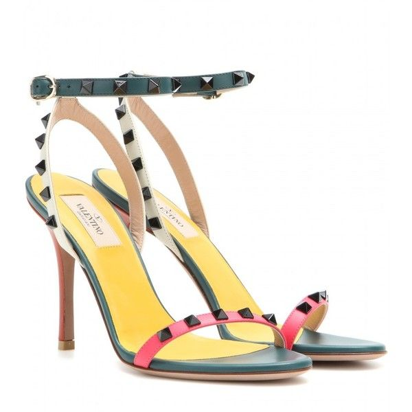 Valentino Rockstud Embellished Leather Sandals featuring polyvore, fashion, shoes, sandals, green, multicolor shoes, decorating shoes, colorful sandals, multi color sandals and green leather shoes