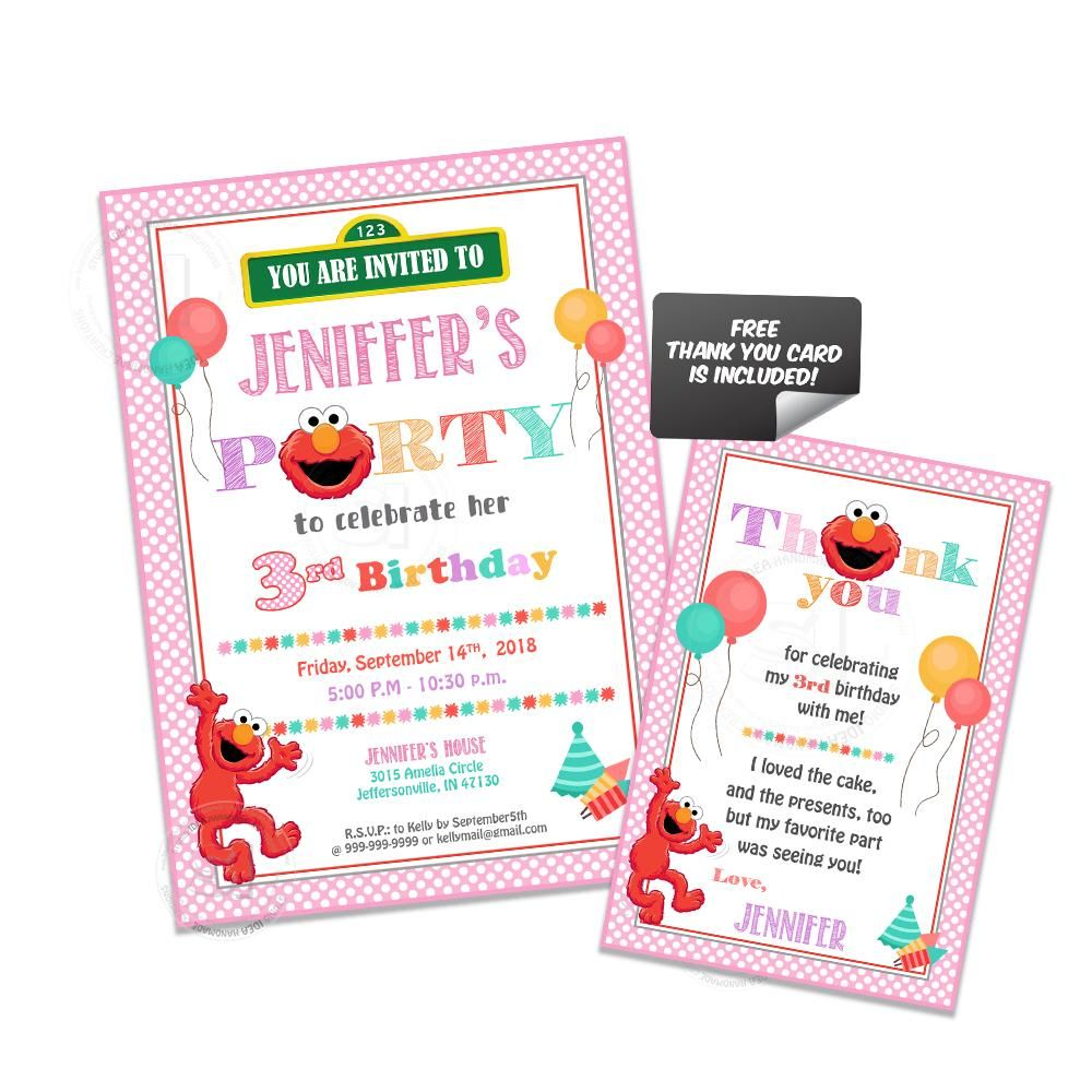 Custom Elmo Printable Birthday Invitation With FREE Matching Thank