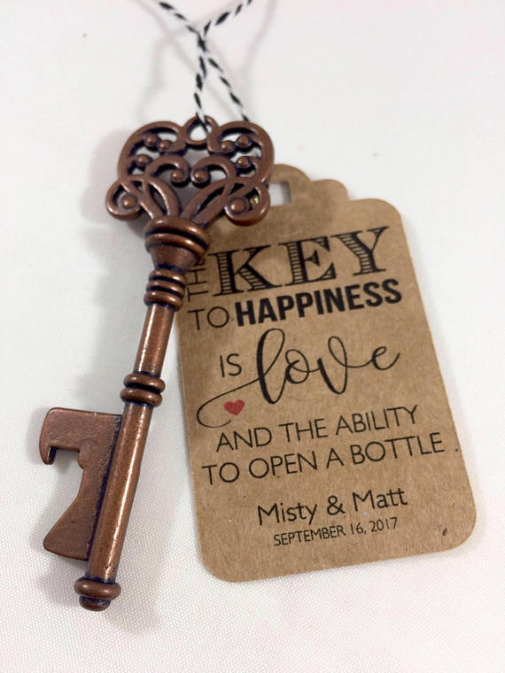 Key Bottle Openers And Tags Wedding Favors Skeleton Key Favors Key To Happiness Tags Wedding Key Tag Set Of 24 Key Bottle Opener Wedding Favor Wedding Favours Bottles Wedding Bottle Opener Favors
