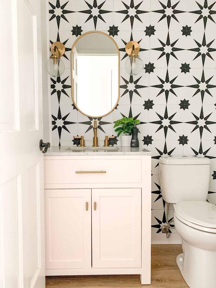 Bold Pink Powder Room Arinsolangeathome In 2020 Bathroom Wall Tile Powder Room Decor Bathroom Makeover