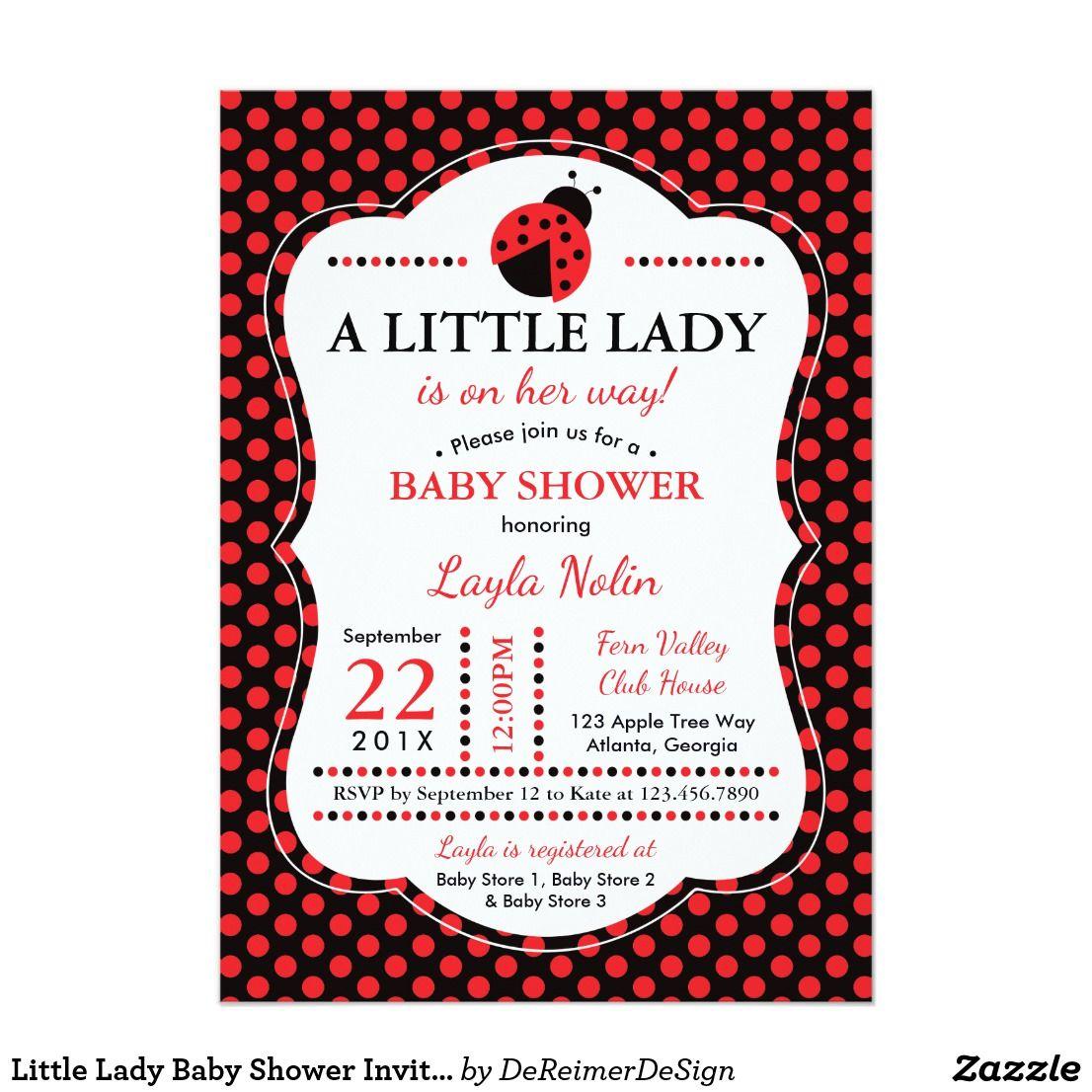 Little Lady Baby Shower Invitation, Ladybug | Baby Shower ...