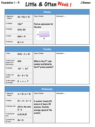 GCSE Maths 9-1 Daily Maths Tasks \'Little & Often\' (Foundation ...