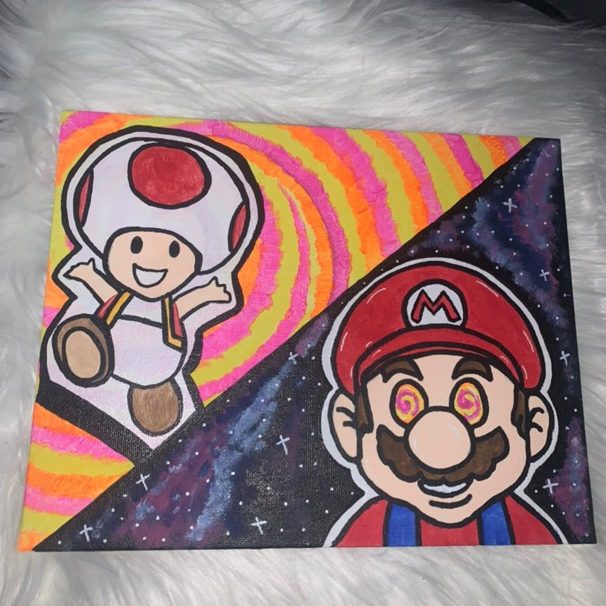Trippy Mario 8x10 Canvas Painting Canvas Art Painting Canvas Drawings Small Canvas Art