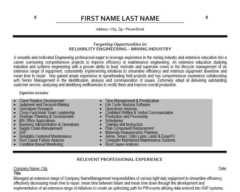 Click Here to Download this Reliability Engineer Resume Template - system engineer resume
