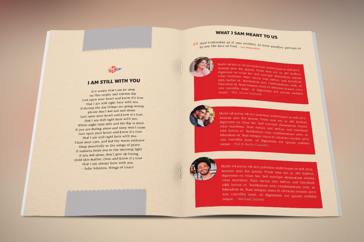 goodbye funeral program publisher template created with microsoft publisher is a clean scrapbook style
