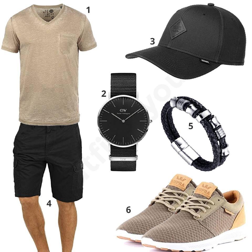 beige schwarzes herren outfit mit armband m0359 herren. Black Bedroom Furniture Sets. Home Design Ideas