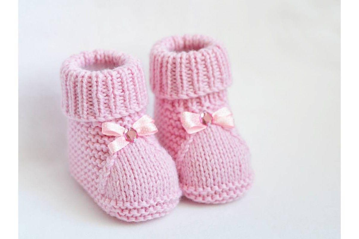 мастер класс пинетки для новорожденных спицами вязание вязание