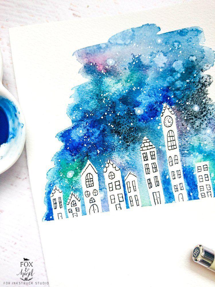 Watercolor Galaxy Cityscape Diy Watercolor Galaxy Watercolor