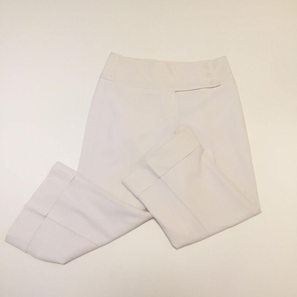 b2c724d621b Margaret M Womens 8 Dress Pant White Cropped Capri Flat Front  MargaretM   Straight  Work