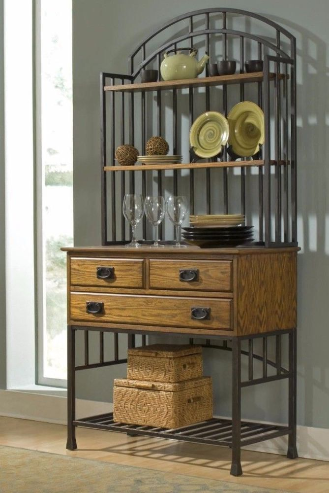Distressed Oak Finish Bakers Rack With Drawers And Shelves Kitchen