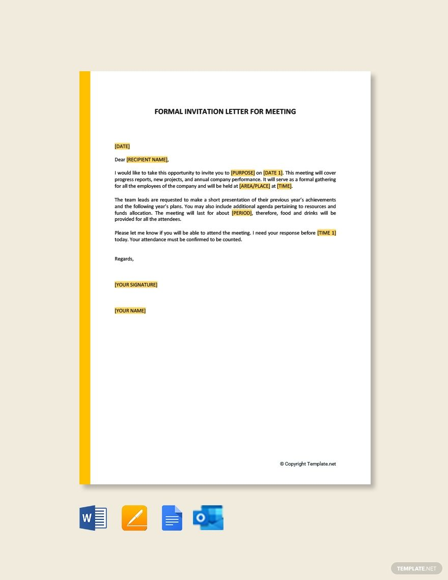 FREE Formal Invitation Letter for Meeting Template - Word  Google
