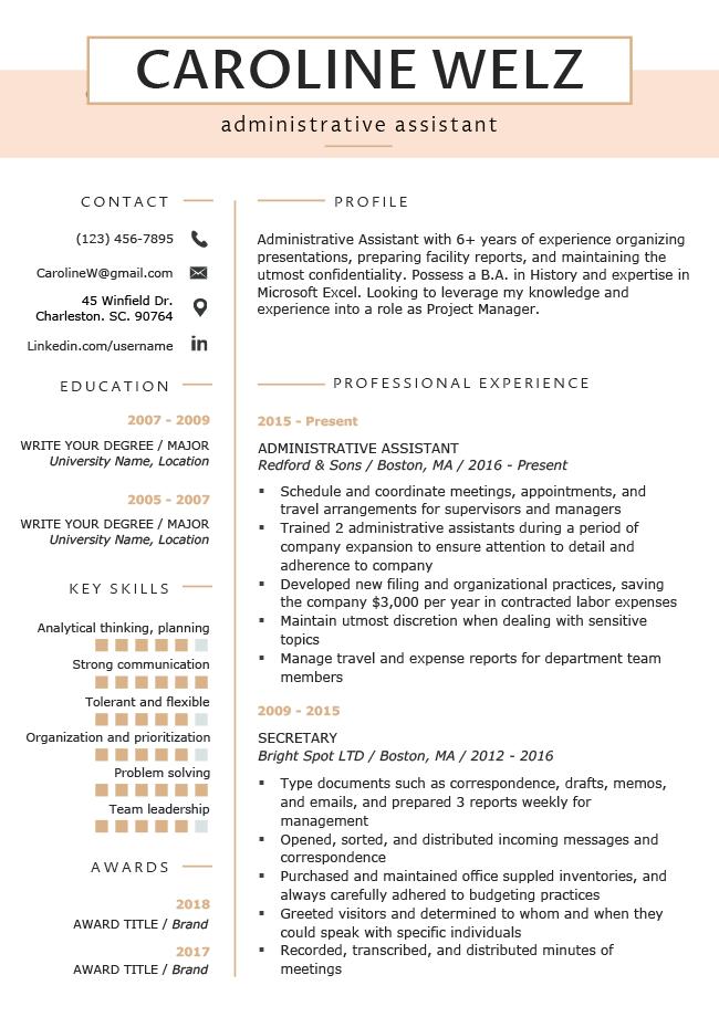 Premium Peach Resume Rg Resume Template Free Resume Template Professional Resume Templates