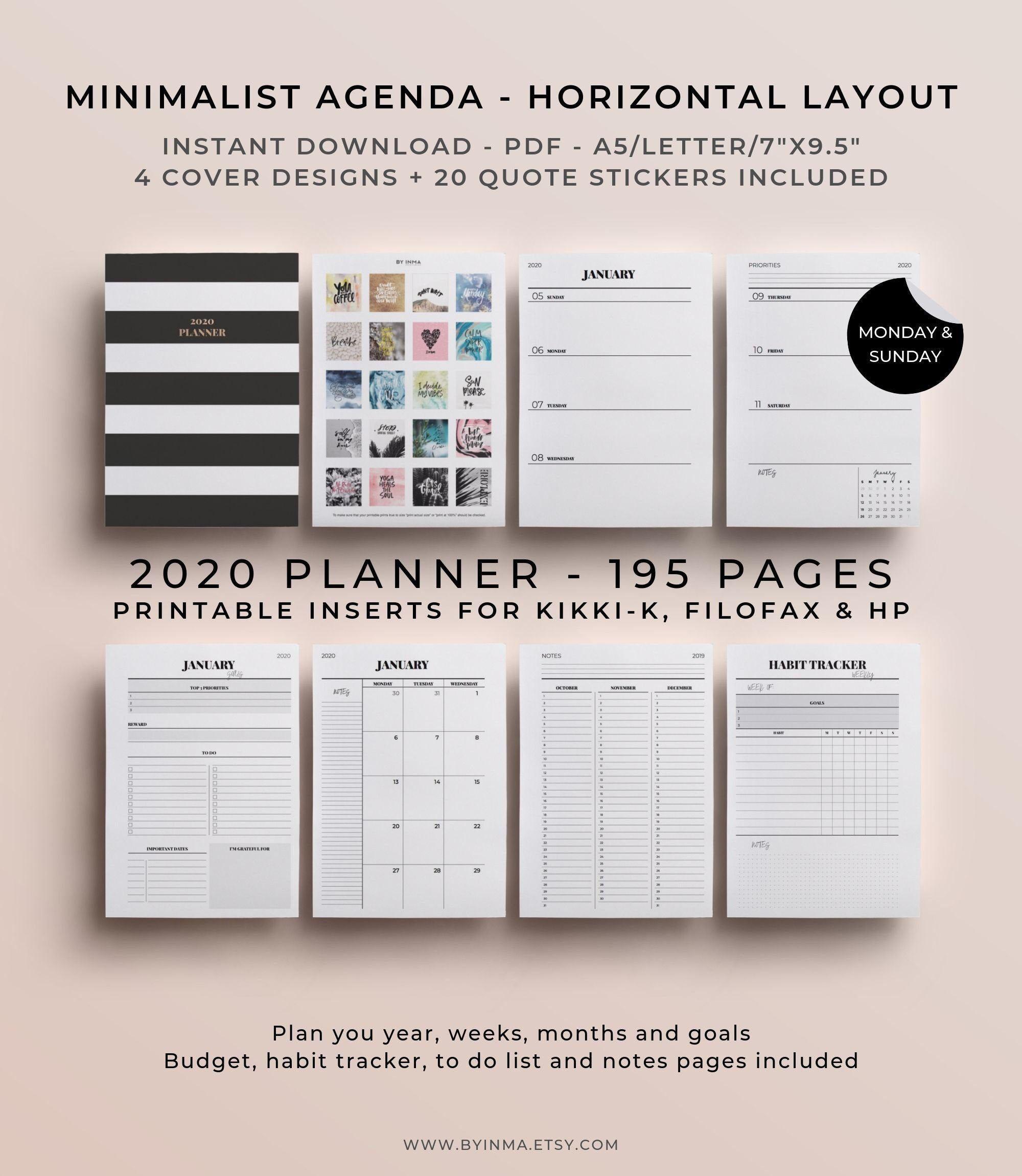 2020 Planner Printable, Filofax A5, Happy Planner Inserts