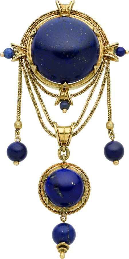 Victorian Lapis Lazuli Gold Brooch French The Brooch Features A Lapis Lazuli Cabochon Suspending A Pendant Enha Antique Jewelry Lapis Lazuli Jewelry Jewelry