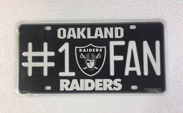 Oakland Raiders 1 Fan Auto Car Truck Metal License Plate Tag New Ebay Oakland Raiders Nfl Oakland Raiders Raiders