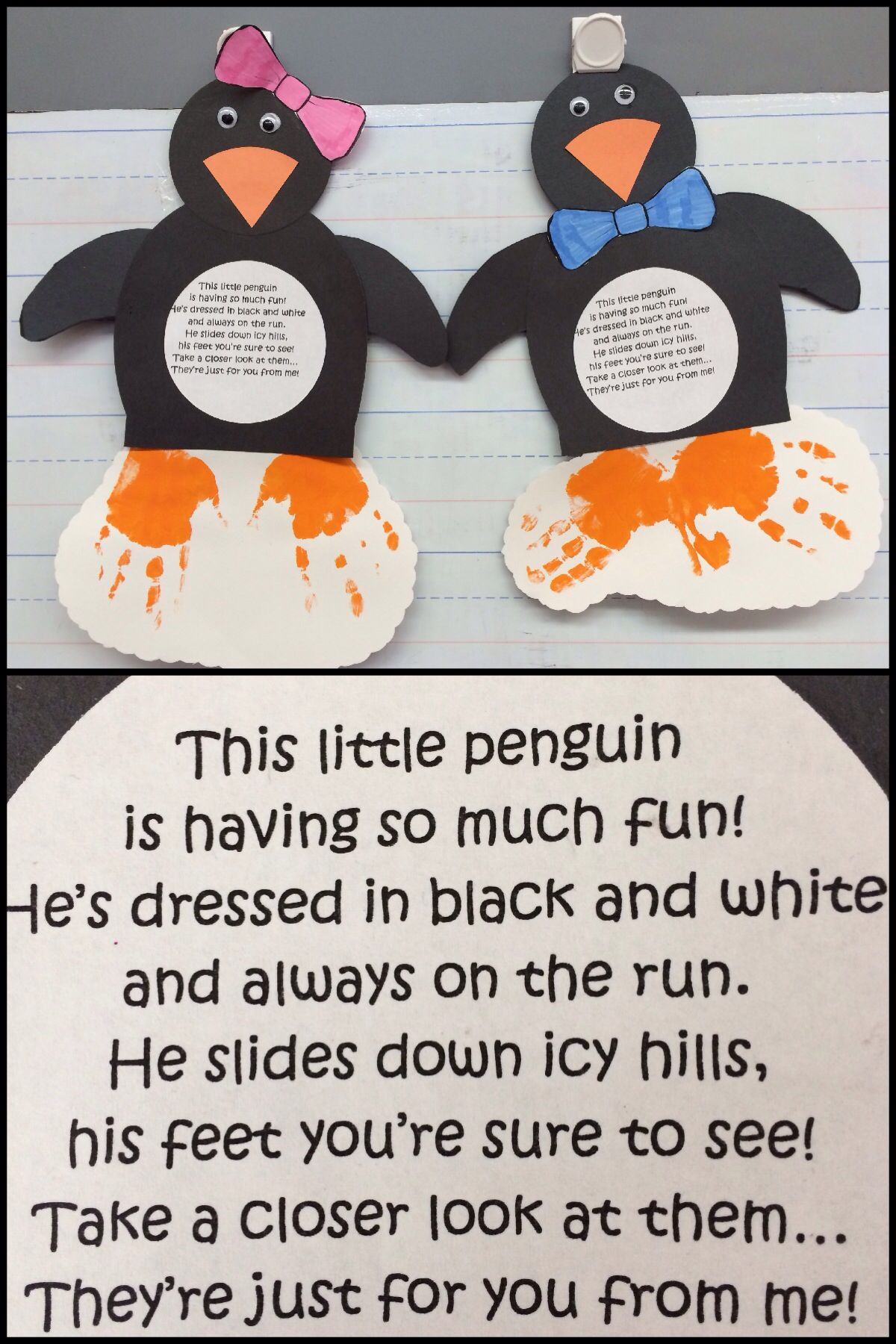 Penguin With Child S Handprints As Feet Close Up Of Poem