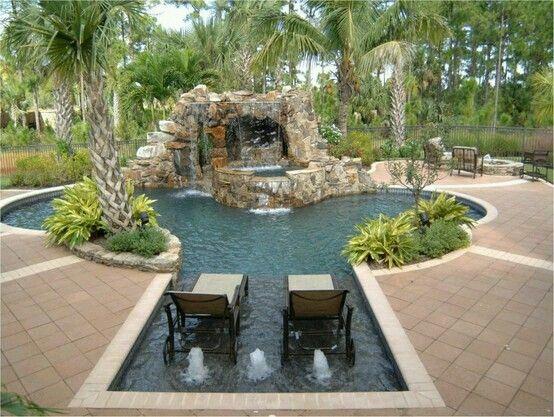 Pileta con cascada piscinas pinterest cascadas for Piletas con cascadas