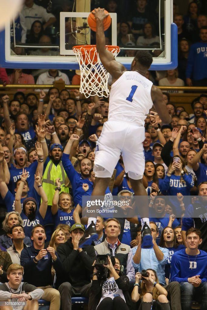 Duke Blue Devils forward Zion Williamson dunks the ball
