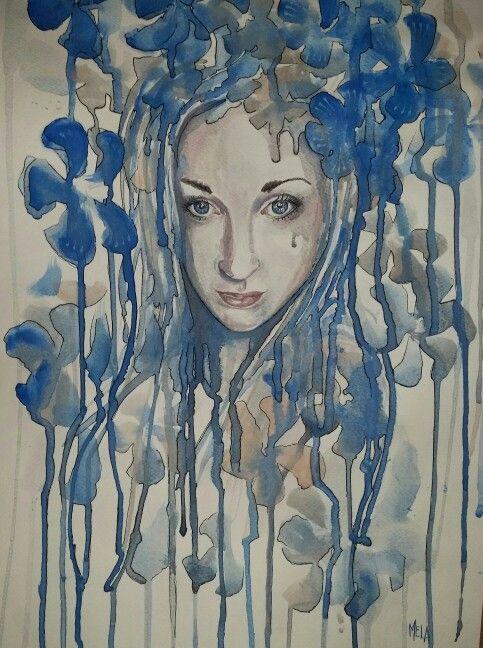 Into #texture figurative  Model : Dalila Campo  Acquerello su carta  35x50 cm  MELA - Carmela Garro