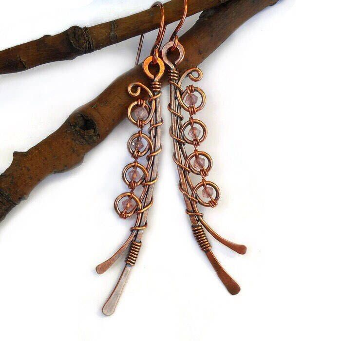 Unique wire earrings, wire wrapped earrings, wire wrapped jewelry ...