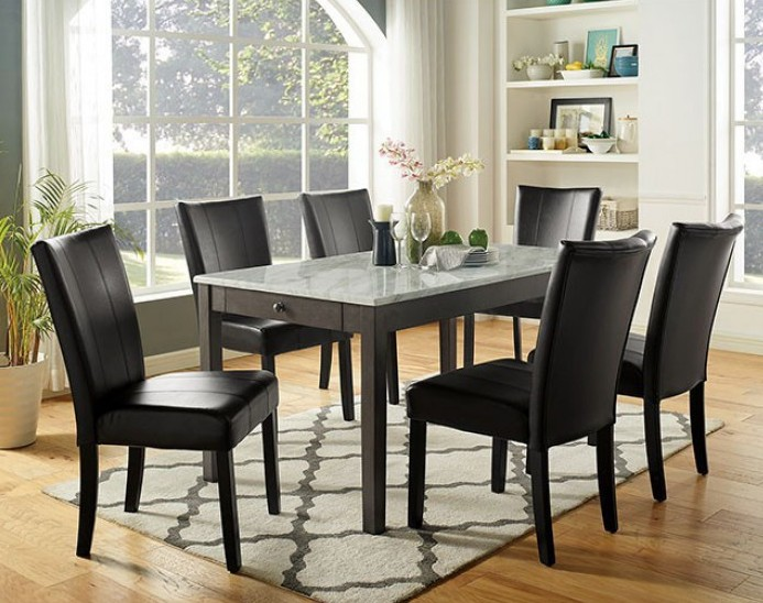 Cm3732t 7 Pc Canora Grey Mel Abia Dark Gray Finish Wood Faux Marble Top Dining Table Set Contemporary Dining Room Sets Dining Room Sets Marble Top Dining Table