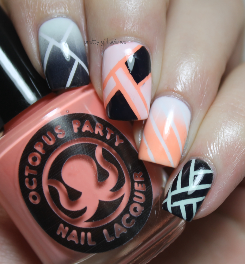 Science Nail Designs: Bleached Neons And Tape