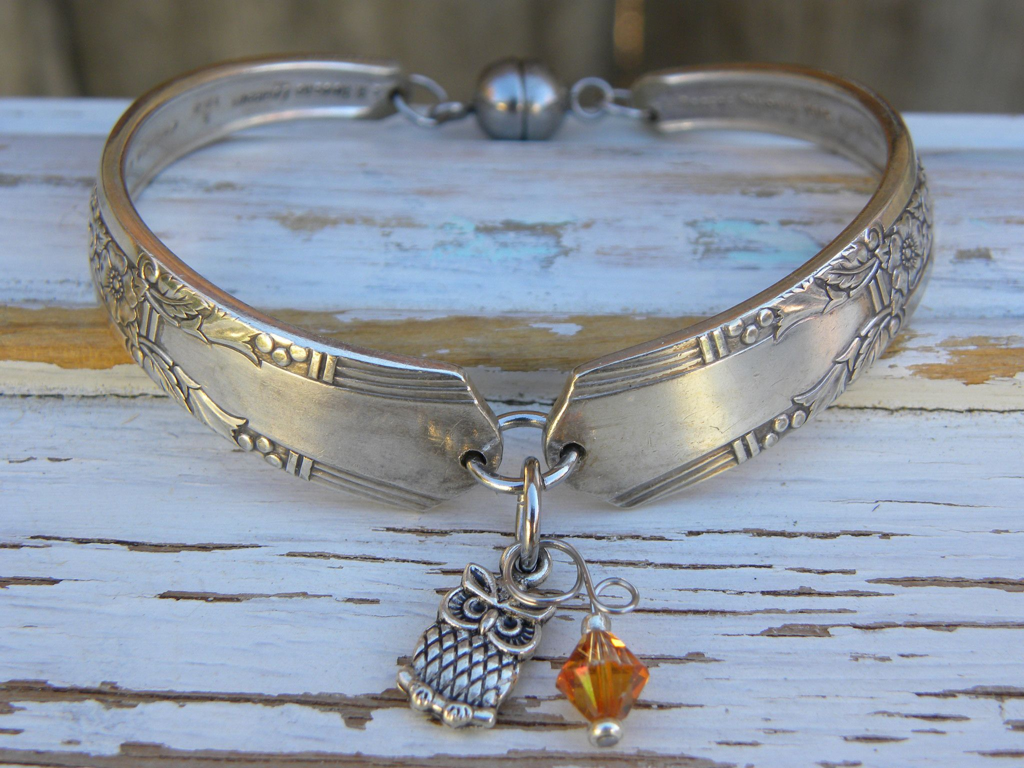 Spoon handle bracelet - owl charm - brown orange crystal bead - silver vintage spoon handles - your color - magnetic clasp - Size 6 3/4