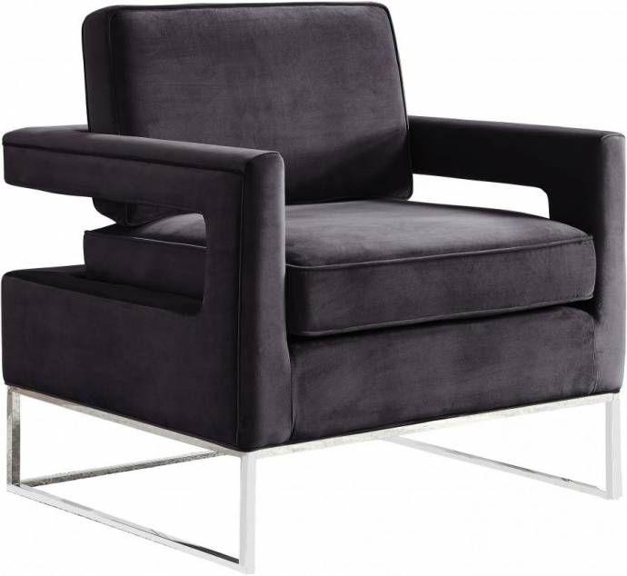 Amazing Meridian Furniture 510 Noah Modern Grey Velvet Chrome Steel Cjindustries Chair Design For Home Cjindustriesco