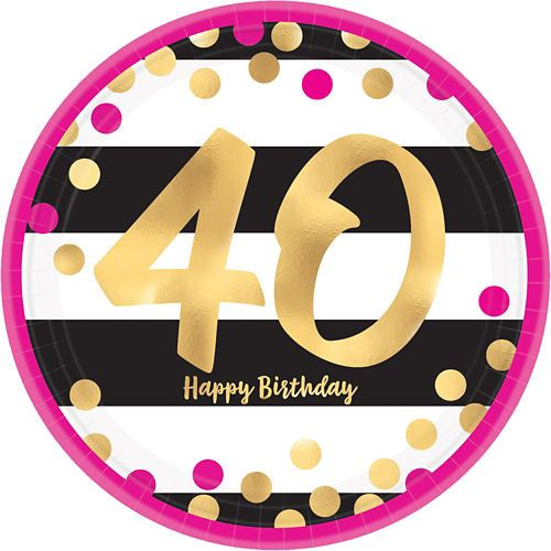 Metallic Pink Gold 40th Birthday Lunch Plates 8ct In 2019