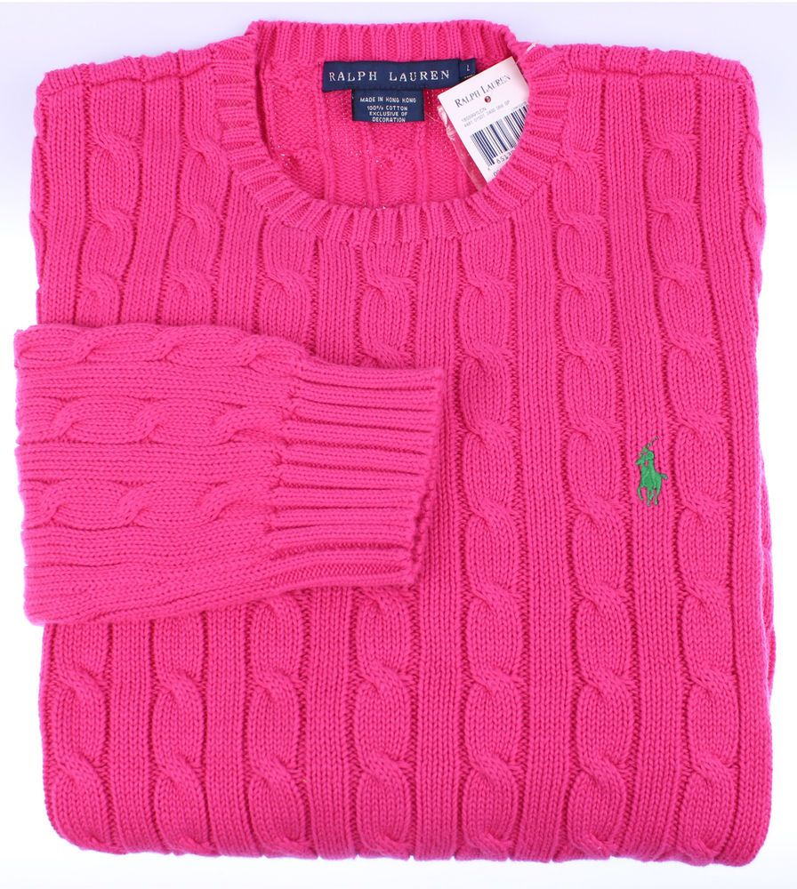 NEW Polo Ralph Lauren Womens Sweater Size XL Cable Crewneck ...