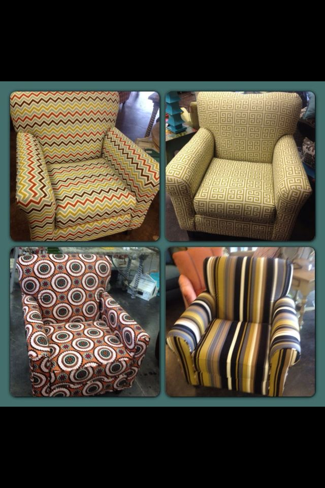 I want to recover my over sized chair in fabric similar to top left-just different colors