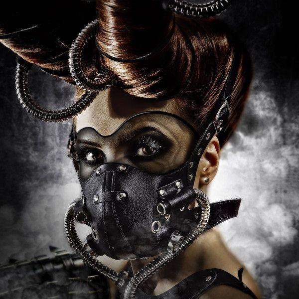 Future, Cyberpunk, Futuristic, Post-Apocalyptic Fashion, Girl in Mask, Avant-Garde Fashion, Face Mask, Hairstyle, Bizarre 4 by Mikhail (Va5ilich) Kiryanov, via Behance