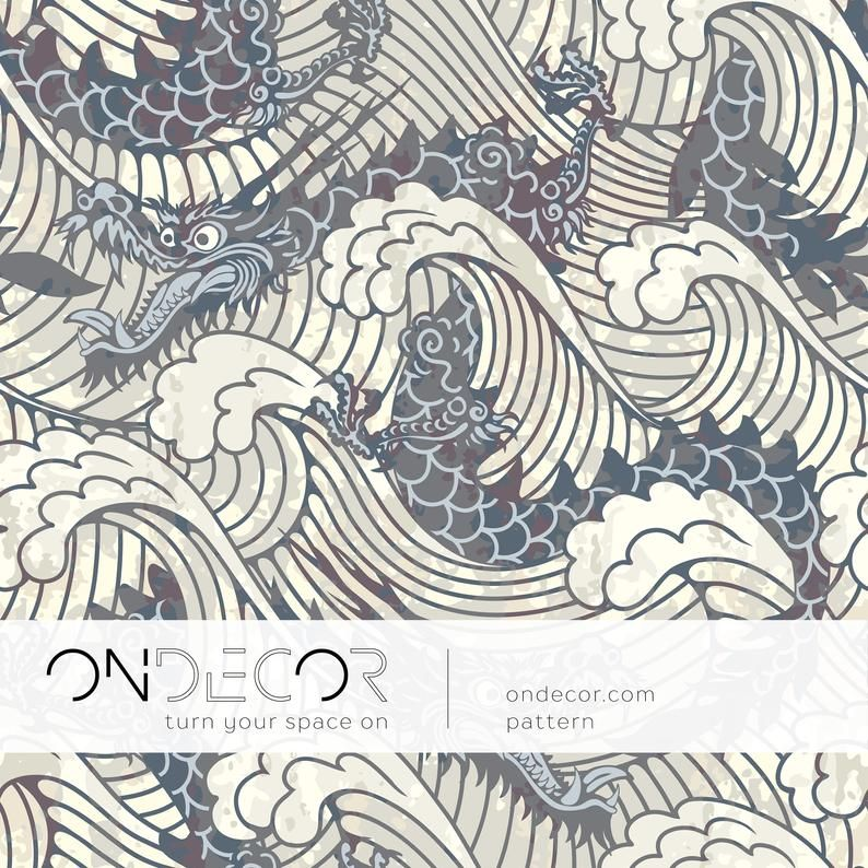 Dragon Waves Wallpaper Removable Wallpaper Peel And Stick Wallpaper Wall Paper B257 In 2021 Water Dragon Waves Wallpaper Japanese Patterns