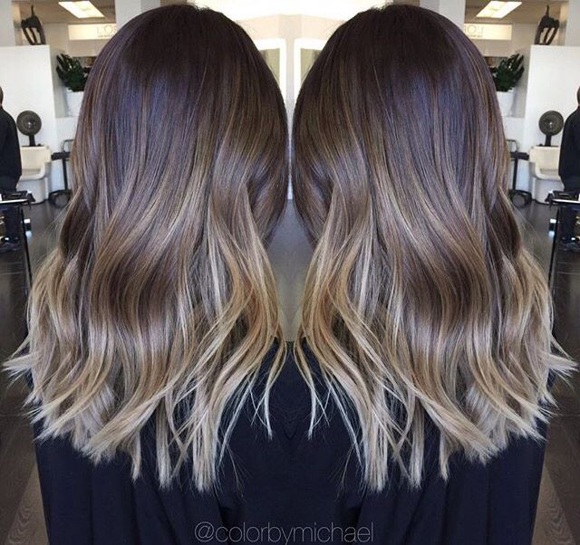 Medium Length Ombre Hair Blonde And Brown Hair Nails And Makeup