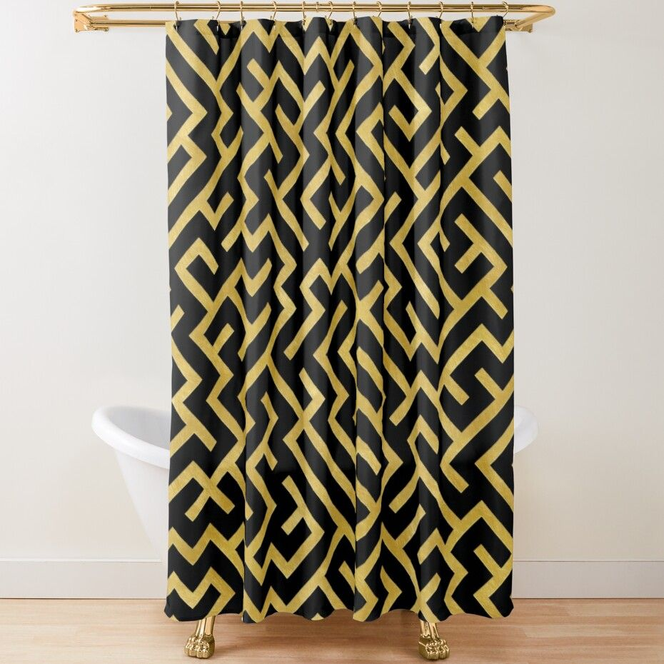 maze black and gold shower curtain by lematworks in 2021 gold shower curtain fabric decor shower
