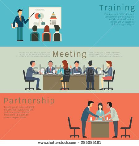 Set Of Business Concept Training Meeting Agreement Or