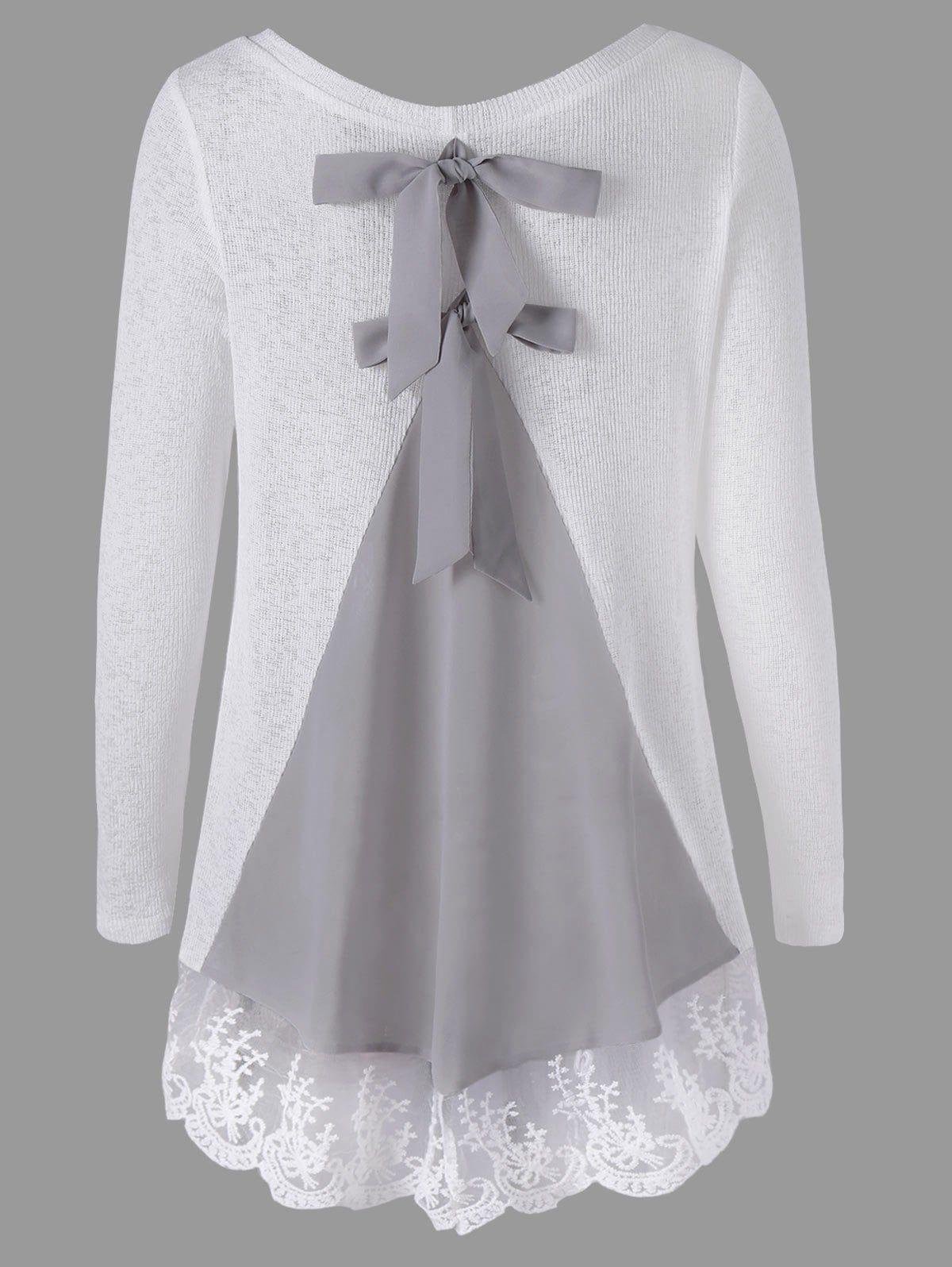 M boutique lace dress  Back Bowknot Lace Panel Long Sleeve Knit Top  Шитье  Pinterest