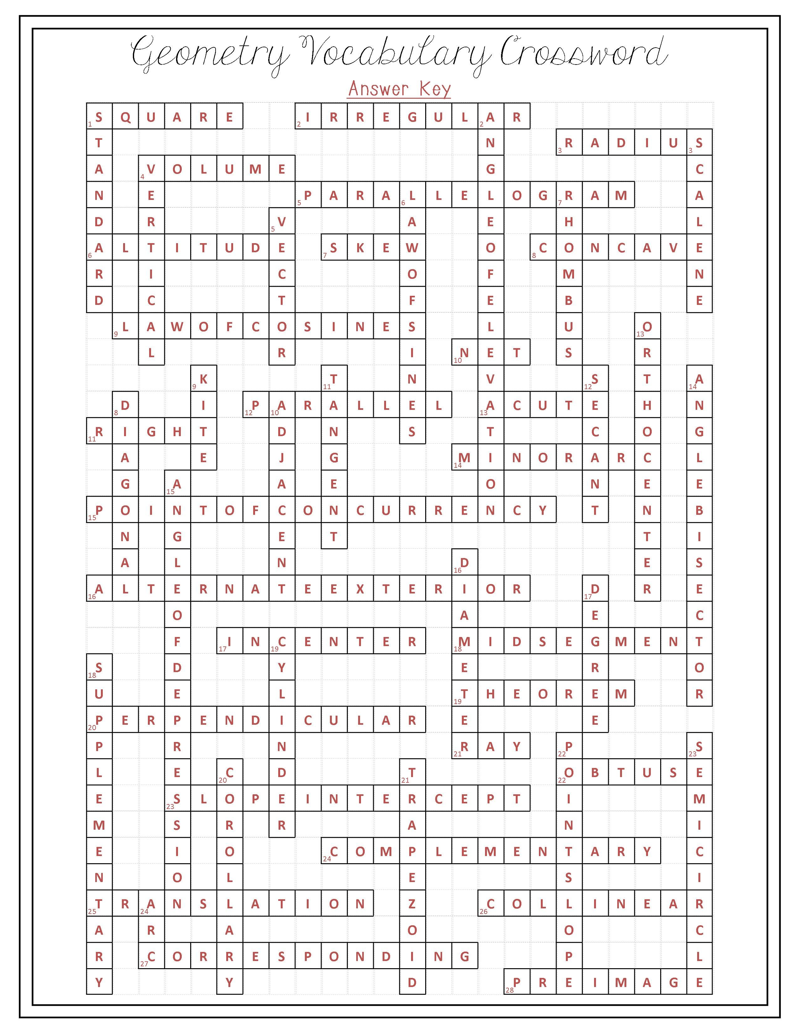 Crossword Puzzle Gallery Geometry Vocabulary Words Students And Math Of Maker