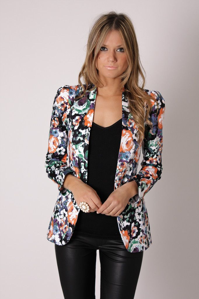 floral print blazer with leather pants and a black basic