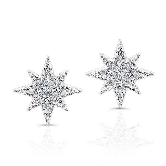 14kt White Gold Diamond North Star Stud Earrings