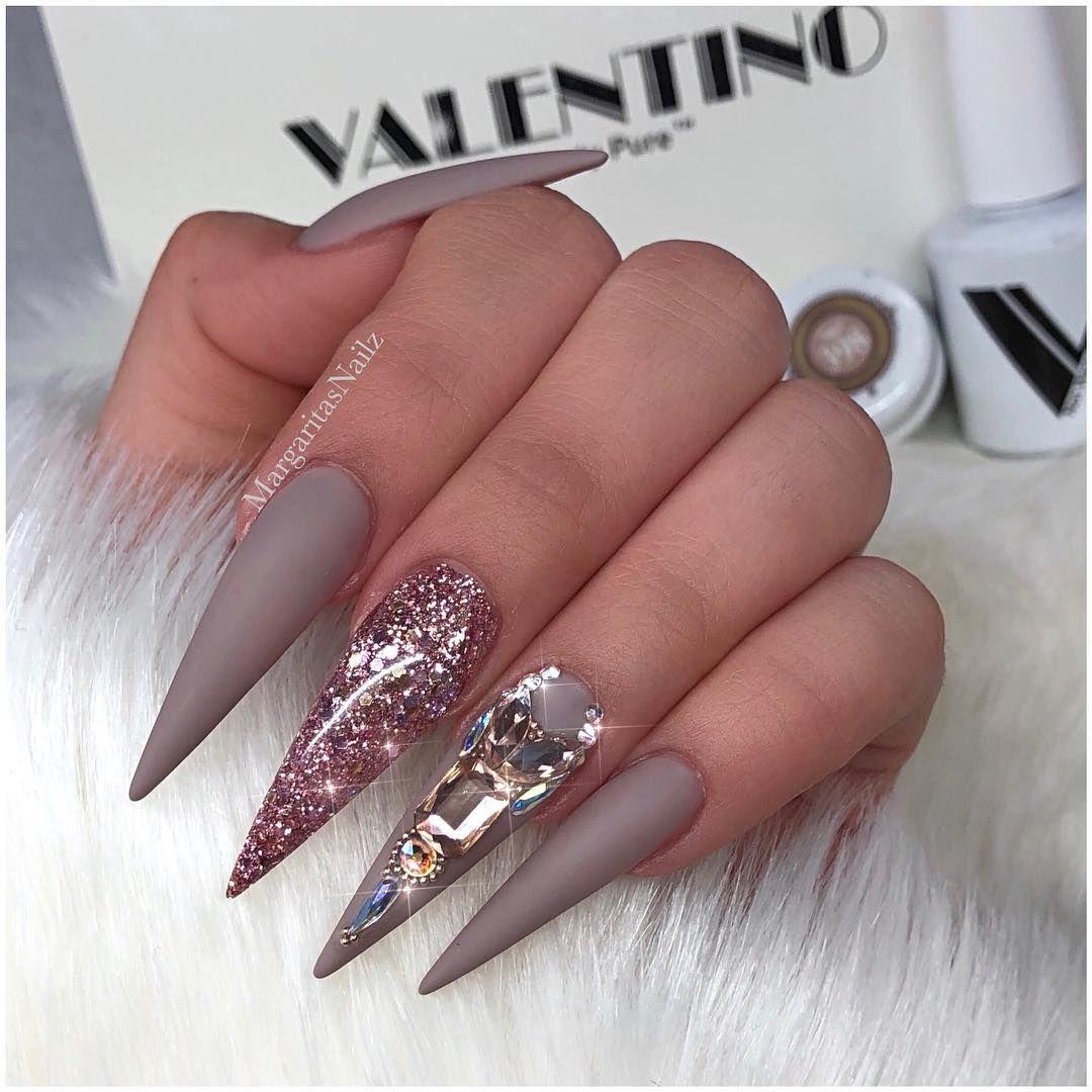 Matte Stilettos Pointy Nail Designs Pointy Nails Glitter Nail Art